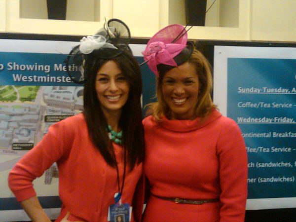 "<div class=""meta ""><span class=""caption-text "">Liz Cho and Kemberly Richardson model fascinators, of which there will be many on wedding guests Friday.   </span></div>"