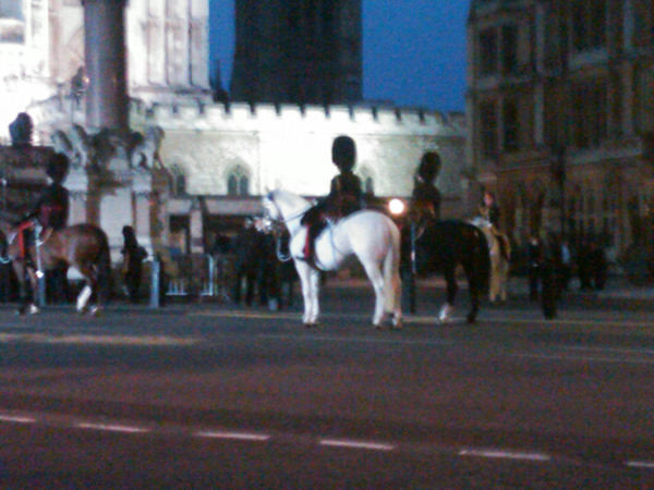 This is a photo of the wedding procession rehearsal that took place overnight while city residents slept.  The horses were in front of Westminster Abbey when we left at 5am after our 11pm Eastern live shot. (Photo by Tara Zimmerman)