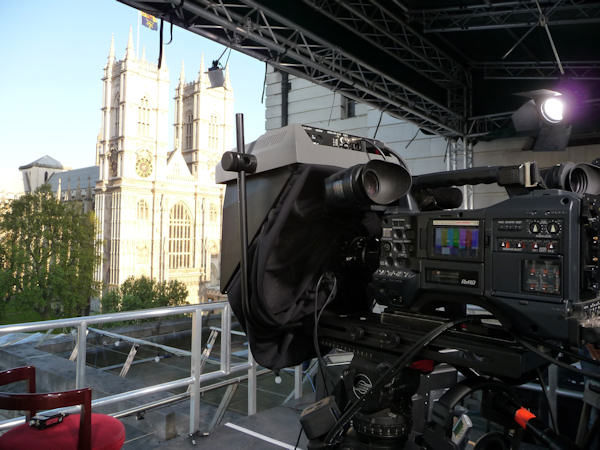 Cameras pointed at the Abbey...thousands of cameras are located throughout the city. (Photo by Bryan White)