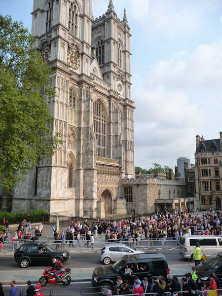 Crowds gather outside the Abbey (Photo by Bryan White)