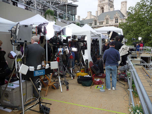 Media platform across from the Abbey holding broadcasters from around the world. (Photo by Bryan White)