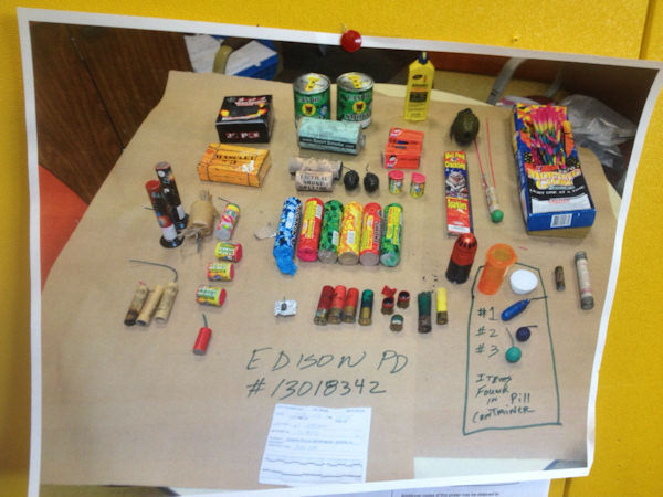 Photos of IEDs seized from a student in Edison, New Jersey (Edison Police)