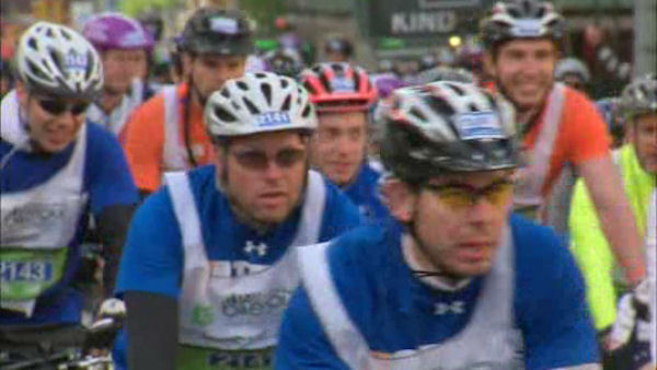 32,000 bicyclists pedaled their way across New York City Sunday in the annual Five Boro Bike Tour.