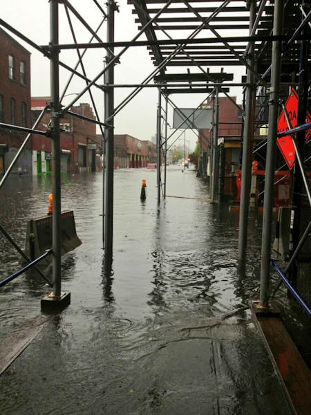 Flooding in Gowanus, Brooklyn on Wednesday, May 8, 2013. (Photographer Ian Stiles via Twitter)