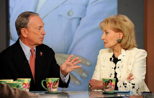 Barbara Walters with New York City Mayor Michael Bloomberg on The View on Monday, May 13, 2013. (Credit: ABC/Lou Rocco)
