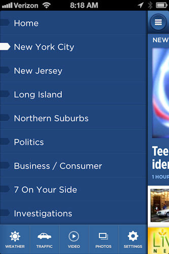 Open the menu on the top left to find other sections, including the latest news in New York City, Long Island, New Jersey, Connecticut and the northern suburbs, and popular Eyewitness News reporting like 7 On Your Side and Investigations.