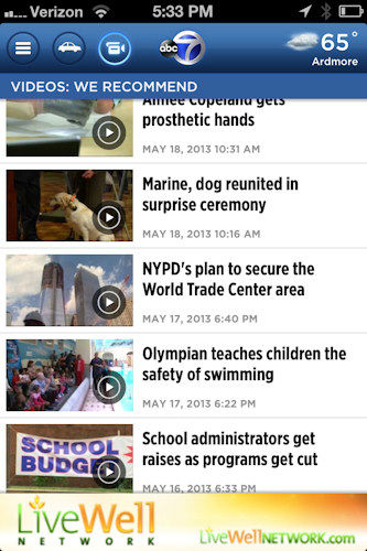 You'll find access to a treasure trove of videos the same way.   Watch recommended videos and the most recent reports from the Eyewitness News team.