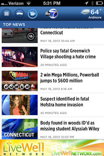Keep on top of breaking news, AccuWeather and traffic, and watch Eyewitness News LIVE on the go with our new News app for your iPhone or Android.