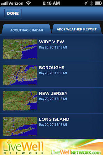 When stormy conditions prevail, you can check the radar for the New York area.