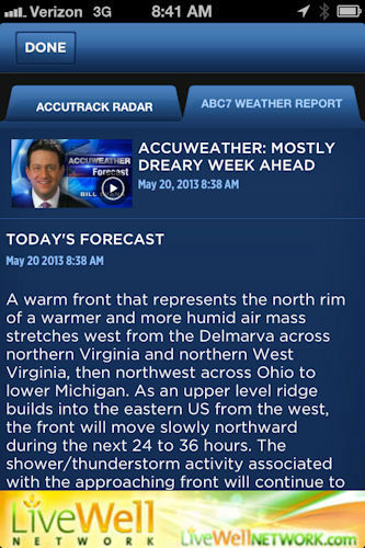"<div class=""meta ""><span class=""caption-text "">Click on weather report to read and watch the exclusive AccuWeather forecast from our team of meteorologists Lee Goldberg, Bill Evans, Jeff Smith or Amy Freeze.</span></div>"