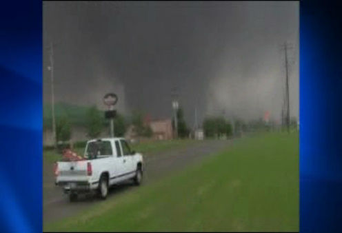 A tornado on the ground near Oklahoma City on Monday, May 20, 2013