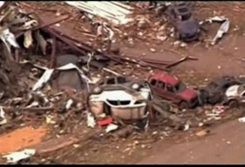 Damage following a tornado near Oklahoma City on Monday, May 20, 2013.