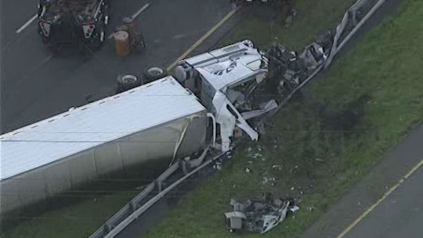 A truck carrying over 38,000 pounds of cheese overturned on Rt. 80 in New Jersey