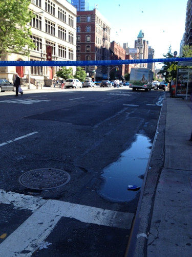 Photos from the scene where a child was killed, her grandmother injured when a car struck them on the Upper West Side on Tuesday morning. (Photo by Lucy Yang)