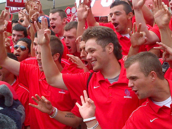 Members of the Stony Brook baseball team celebrate on Monday, June 11, 2012 after returning to campus after advancing to the College World Series. (Photo by Kristin Thorne)