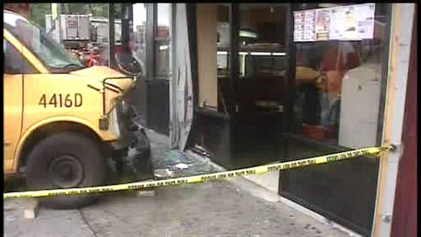 "<div class=""meta image-caption""><div class=""origin-logo origin-image ""><span></span></div><span class=""caption-text"">A mini school bus collided with a car and jumped the curb in the East Tremont section of the Bronx.</span></div>"