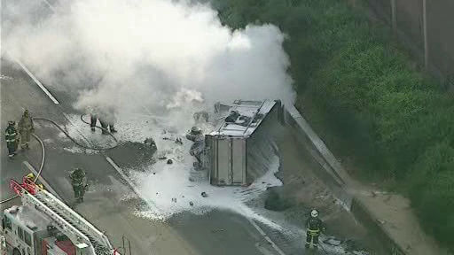 NewsCopter 7 over the scene of a dump truck accident in East Brunswick, New Jersey on Monday.
