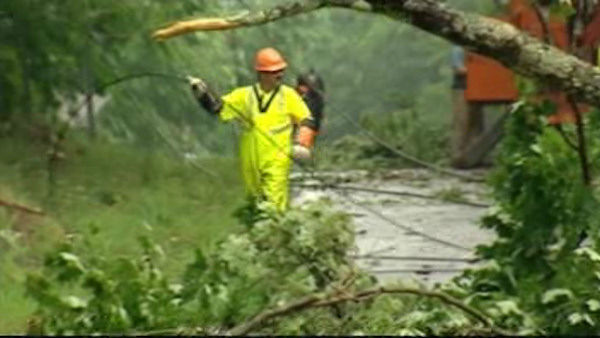 Storm damage in Dutchess County on Monday, June 25, 2012.