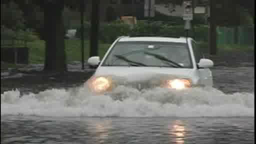 Flooding in Hempstead, Long Island on Monday, June 25, 2012.