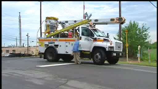 Downed power lines in Perth Amboy from morning storms on June 25, 2012.