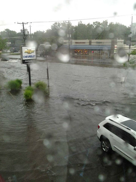 Flooding along Route 17 in Bergen County, NJ