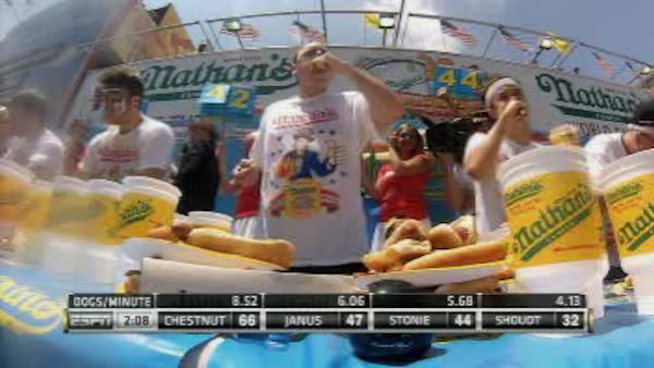 "Joey Chestnut downed 69 franks to win his seventh straight Coney Island hot dog eating contest, while Sonya Thomas, known as the ""Black Widow"", won the women's competition."