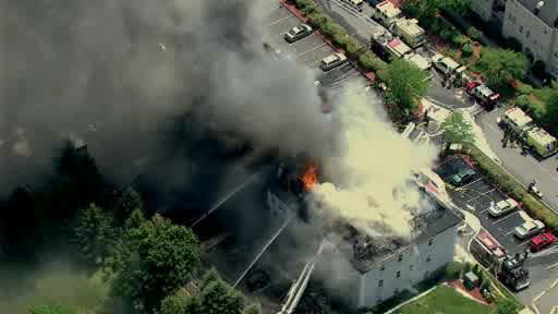 NewsCopter 7 over an apartment fire at 1023 Brittany Drive off Berdan Ave in Wayne, New Jersey on Monday, July 11, 2011.  <span class=meta>(WABC Photo)</span>
