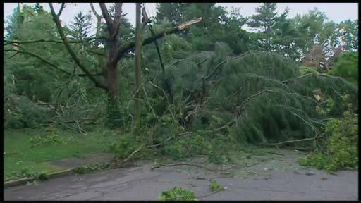 Storm damage in Old Westbury, Long Island on July 19, 2012