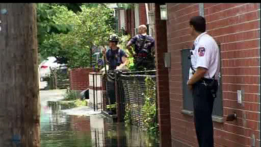 Pop-up showers and storms caused flooding in Flushing, Queens on Monday, July 22.