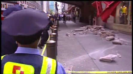 A truck turned a corner, knocking into a concrete barrier, sending concrete below to 42nd street outside of Grand Central Station.