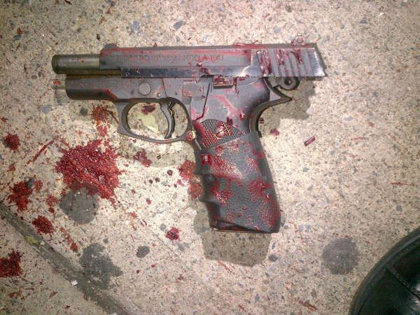 Photo of a black semi-automatic firearm (Astra A100- 9mm) was recovered at the scene.  (NYPD)