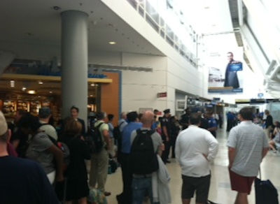 Photo from Eyewitness News viewer Lauri during a security lockdown inside Newark Liberty International Airport Terminal C on Sunday, August 5, 2012.