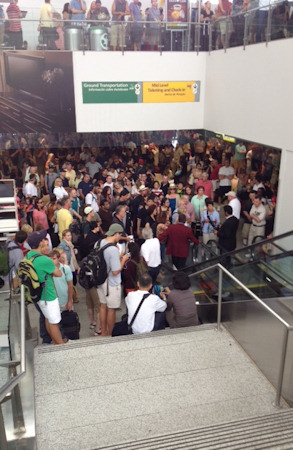 Photo from Eyewitness News reporter Kemberly Richardson during a security lockdown inside Newark Liberty International Airport Terminal C on Sunday, August 5, 2012.
