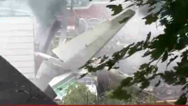 A small plane crashed into two homes in East Haven, Connecticut on Friday August 9, 2013.