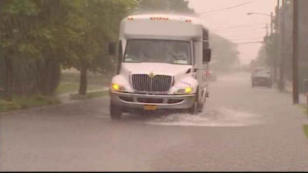 A Friday storm caused flooding in parts of the New York area.