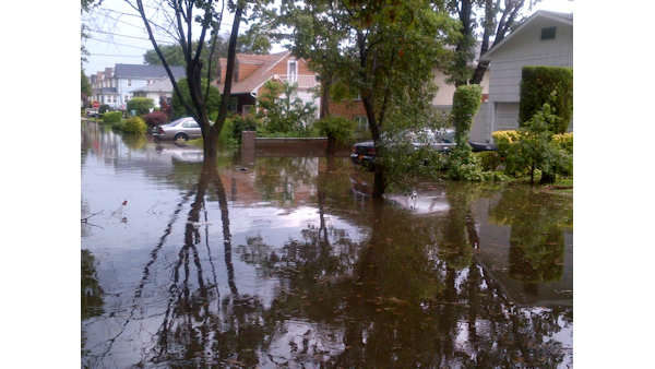 A Wednesday storm caused flooding in parts of Long Island.
