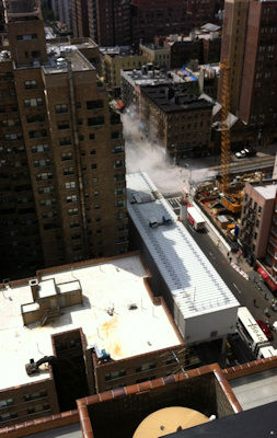 Contractors building a tunnel for the Second Avenue subway used too much explosive for a planned blast at East 72nd Street and Second Avenue, shattering windows and sending dust billowing into the air on Tuesday. (Photo by Michel Meunier)
