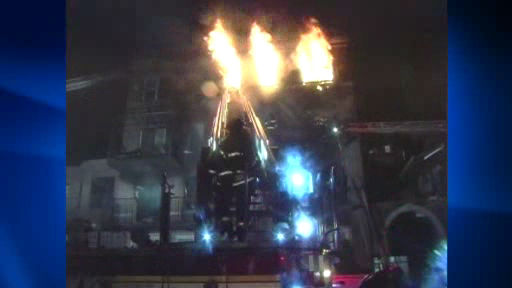 Eight firefighters suffered injuries battling a four alarm apartment fire in Crown Heights, Brooklyn early Labor Day morning.