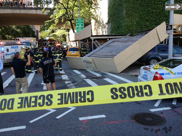 "<div class=""meta image-caption""><div class=""origin-logo origin-image ""><span></span></div><span class=""caption-text"">Four people suffered minor injuries when 2 vehicles, including a cab, crashed into scaffolding at 42nd and 1st on the East Side of Manhattan on Thursday, September 5, 2013.</span></div>"