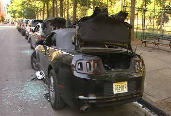 Police say an arsonist struck overnight torching at least 15 cars in Hamiltion Heights.