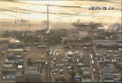 Aerial photos on the morning after the devastating fire along the boardwalk at Seaside Park, New Jersey.   <span class=meta>(Photo&#47;News 12)</span>