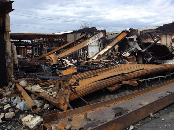 The location where Phil Lipof reported from during Hurricane Sandy now devastated by fire. (Phil Lipof)