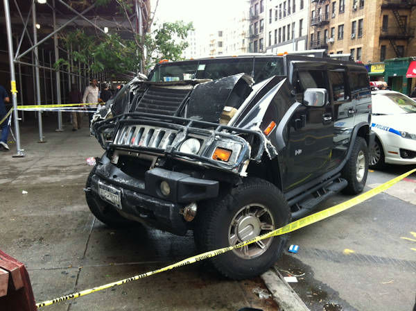 "<div class=""meta image-caption""><div class=""origin-logo origin-image ""><span></span></div><span class=""caption-text"">8 people suffered injuries when a black Hummer hit a city bus, jumped the curb and struck the front of the Rub BBQ restaurant in Chelsea on Tuesday. </span></div>"