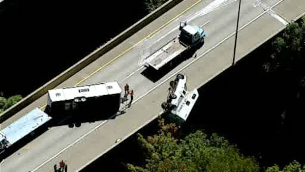 NewsCopter 7 over the scene of an overturned pickup truck and camper on southbound Route 287 in Mahwah