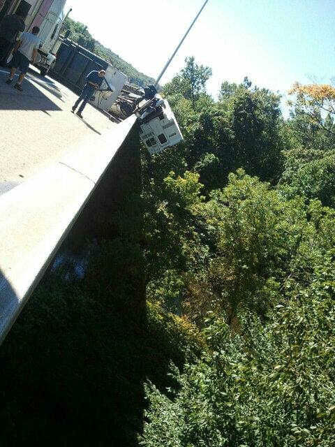 New Jersey State Police photo of an overturned pickup truck and camper on southbound Route 287 in Mahwah. (via Twitter)