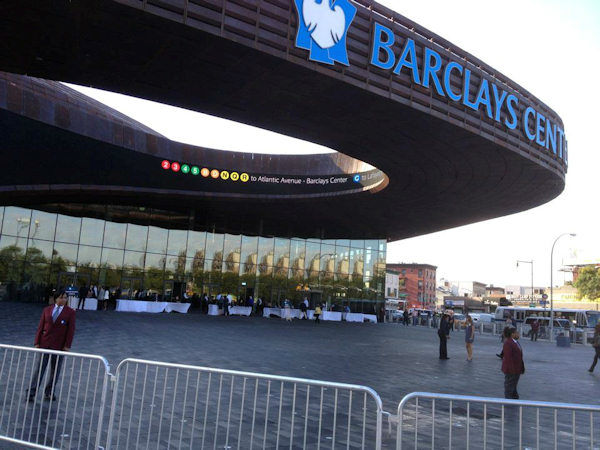 Officials cut the ribbon on the Barclays Center in Brooklyn on Friday, September 21, 2012.   (N.J. Burkett)