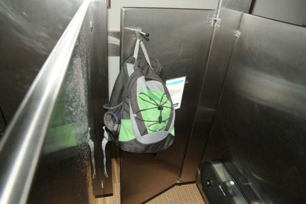 Aaron Alexis? backpack was found in the fourth-floor men?s bathroom, hanging on the back of a stall door. <span class=meta>(FBI)</span>