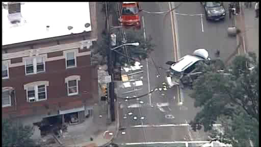 Two people suffered injuries in a four vehicle accident that sent at least one of them smashing into a store in West Orange, New Jersey this afternoon.