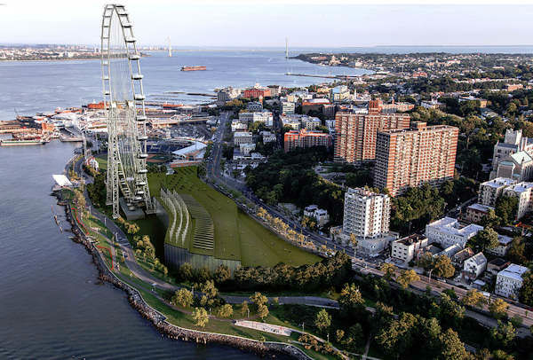 Images of the proposed world's tallest Ferris wheel on Staten Island.  (Courtesy New York Wheel LLC)