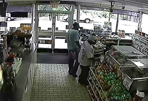 Police in Scarsdale are looking for two men who they said stole a Muscular Dystrophy donation jar from a 7-11.